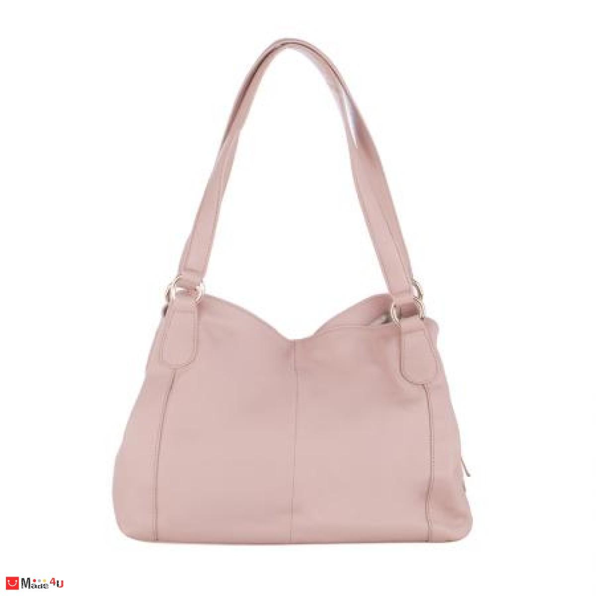 Дамска чанта естествена кожа 21х40см, перлено розово