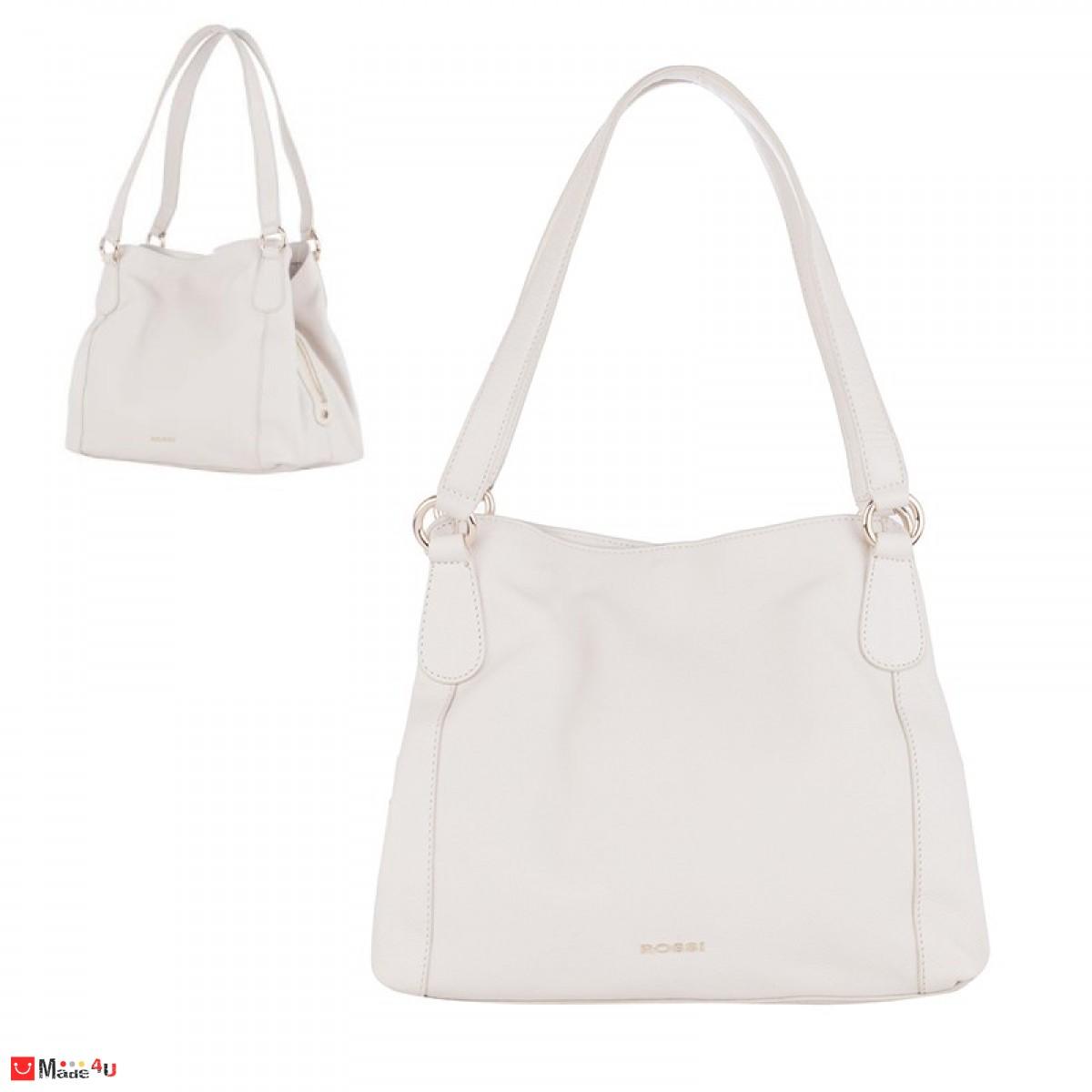 Дамска чанта естествена кожа 21х40см, слонова кост