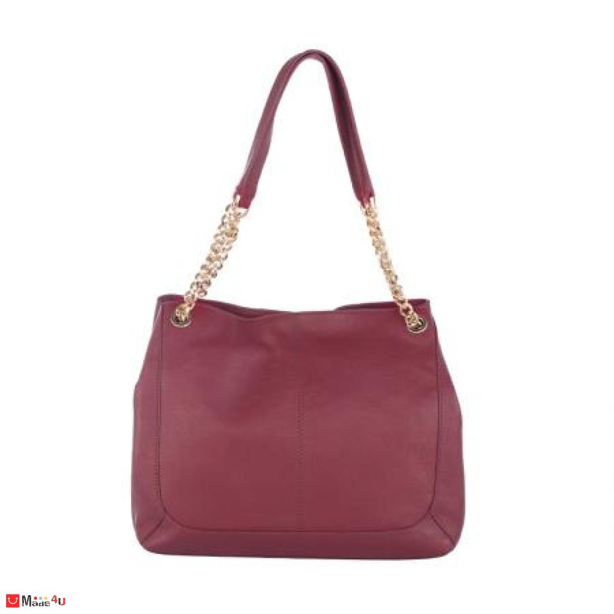 Дамска чанта естествена кожа, 32х27см, винено червена
