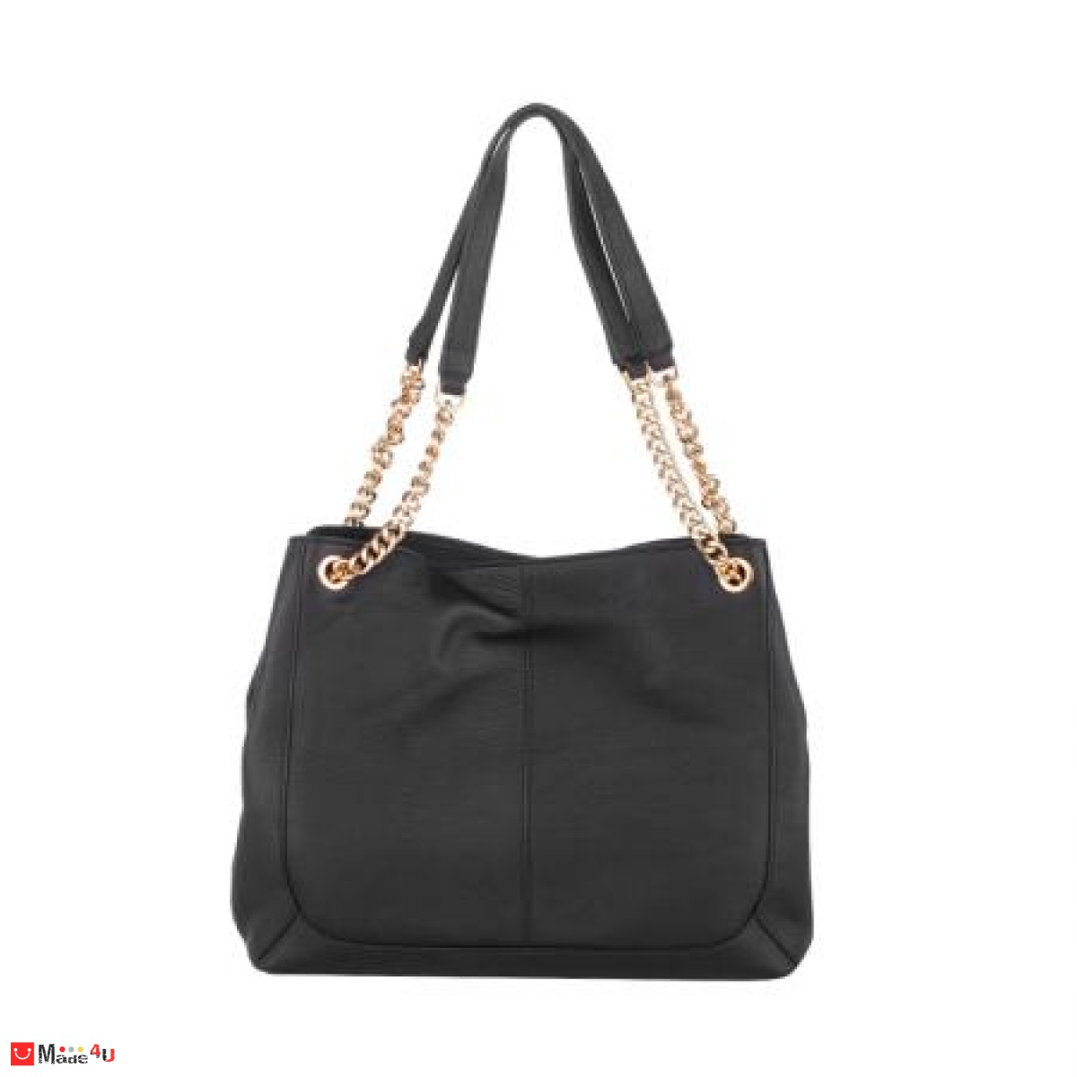 Дамска чанта естествена кожа, 32х27см, черна