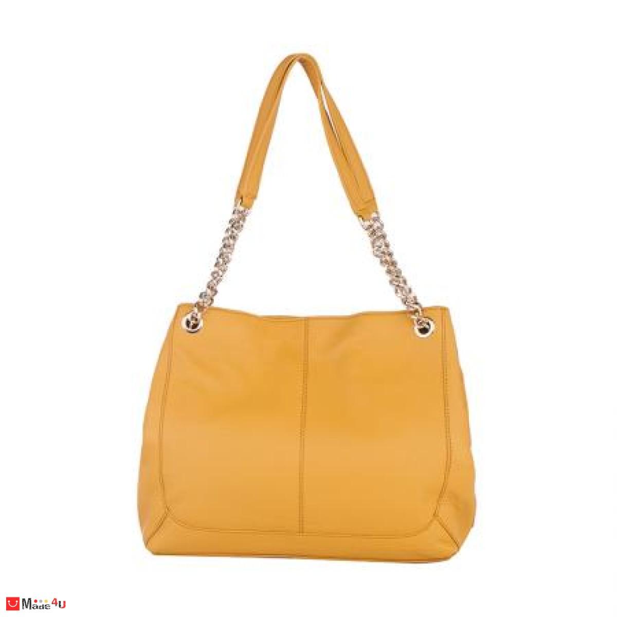 Дамска чанта естествена кожа, 32х27см, светла горчица