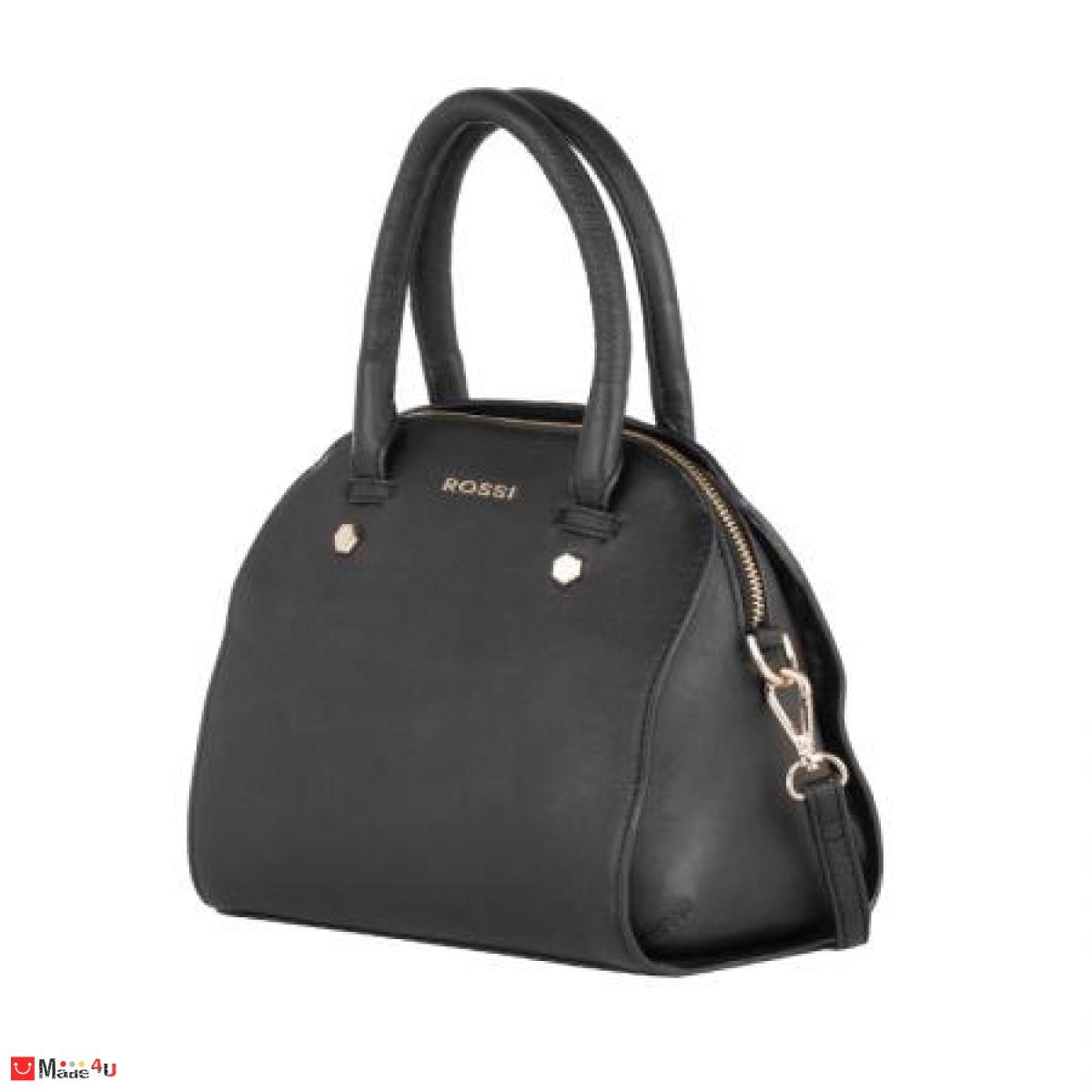 Дамска чанта естествена кожа 21х25см, черна
