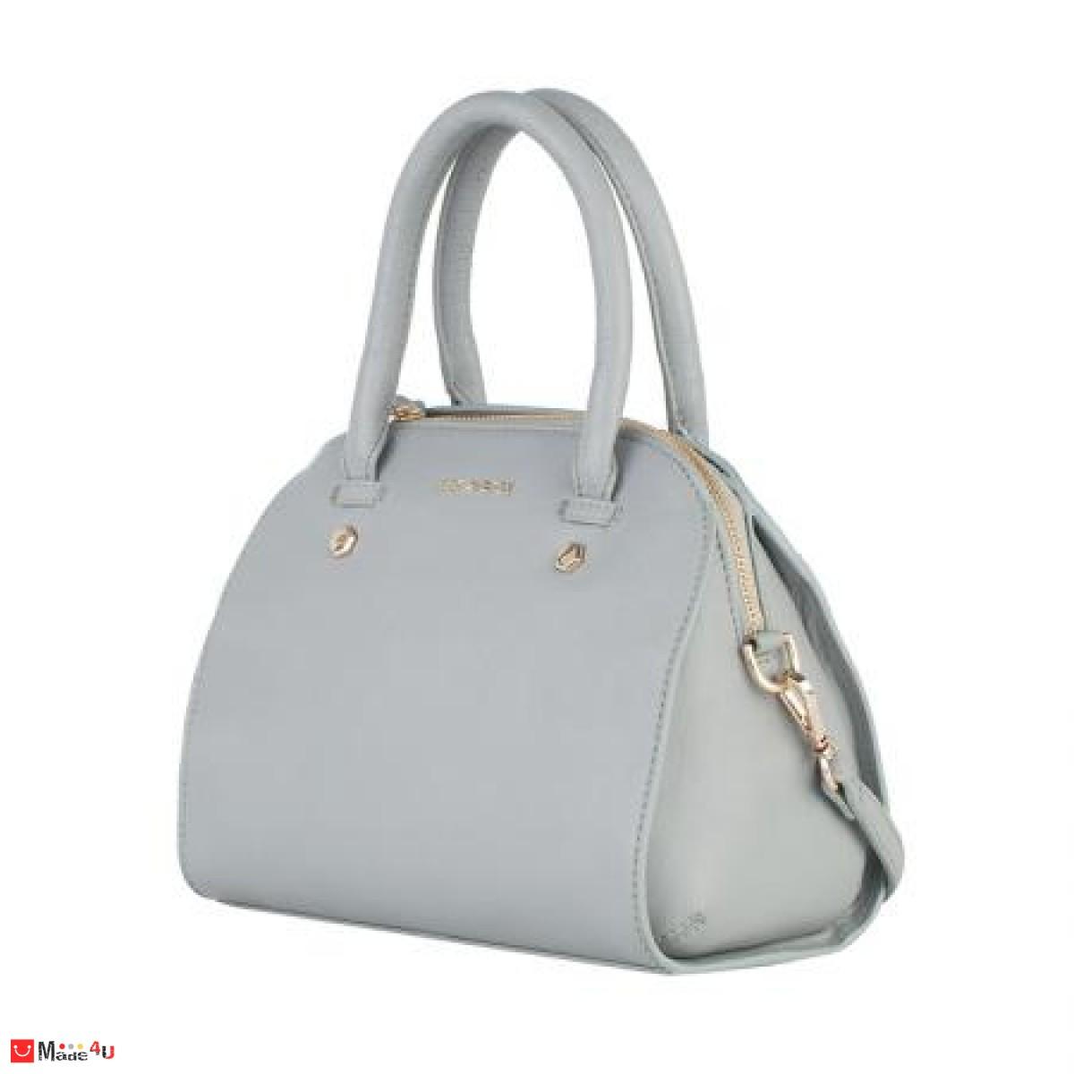Дамска чанта естествена кожа 21х25см, сива