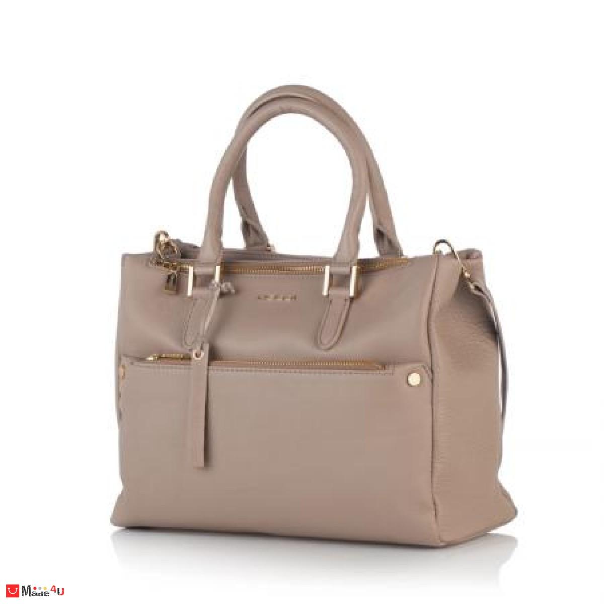 Луксозна дамска бизнес чанта в цвят бежoво - ROSSI