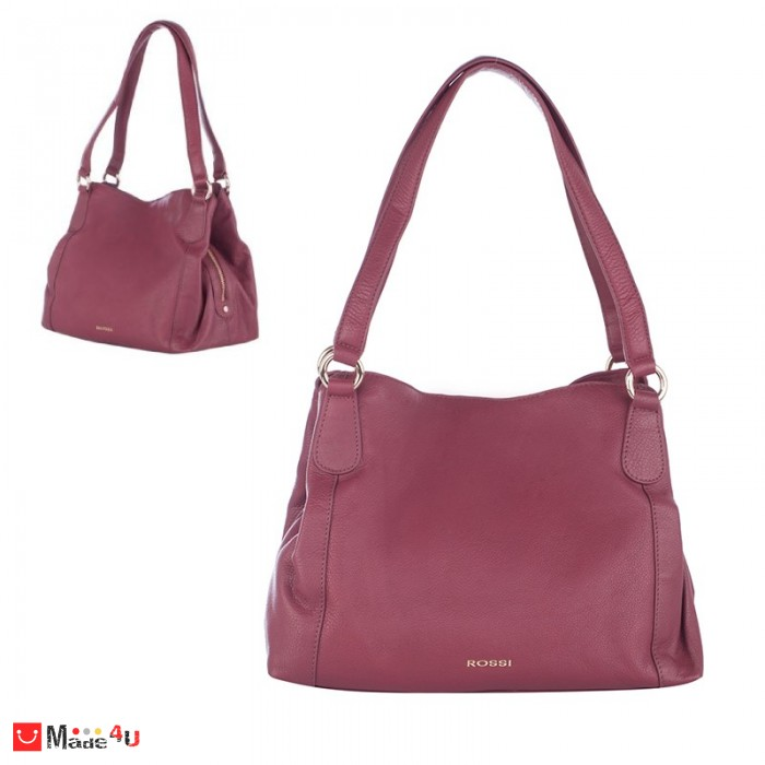 Дамска чанта естествена кожа 21х40см, винено червено