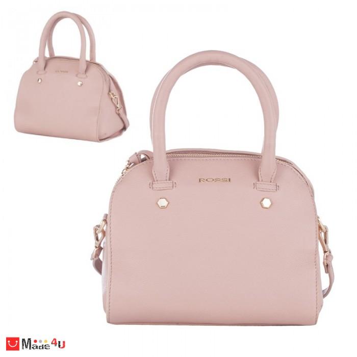 Дамска чанта естествена кожа 21х25см, перлено розова