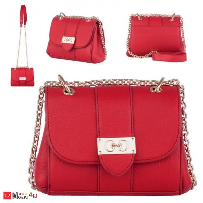 Дамска чанта през рамо 20х17см, червена