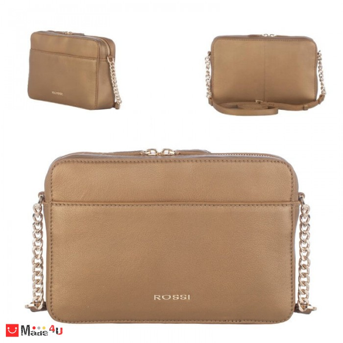Дамска чанта през рамо 25х16см, бронзов цвят