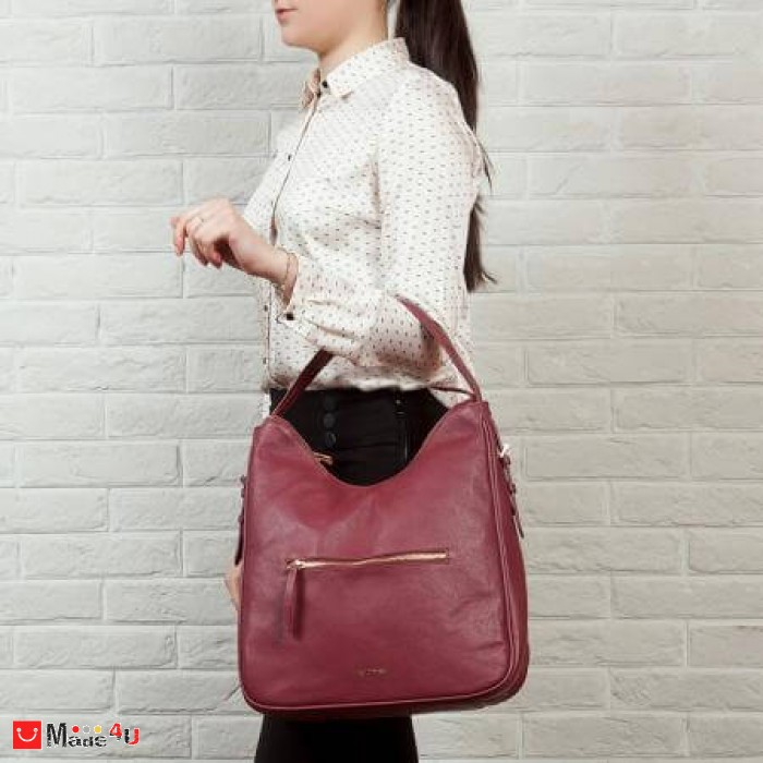Дамска чанта тип торба 32х34см, винено червено