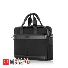 подарък Бизнес Чанта от плат и естествена кожа, с отделение за лаптоп, спортно-елегантен модел, SILVER FLAME LF01COM DM-LF01COM