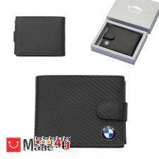 подарък Мъжки портфейл BMW, естествена кожа, 12x10см, класически, хоризонтален, черен, Auto Set AS0702 DM-AS0702
