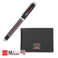 подарък Комплект Ролер и Калъф за документи и карти, тип визитник, естествена кожа, марка Audi DM-AS026