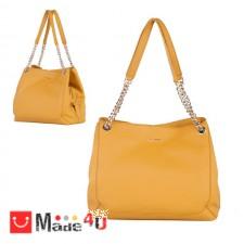 подарък Дамска чанта естествена кожа, 32х27см, светла горчица - дамски чанти тип торба Rossi DM-RSL71158