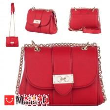 подарък Дамска чанта през рамо 20х17см, червена, дамски чанти естествена кожа Rossi DM-RSL73127