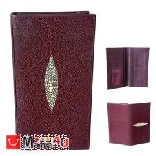 подарък Дамски Портфейл от риба Скат, естествена кожа, вертикален, бордо, 19х10см TCF-100022bo