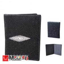 подарък Калъф за документи от риба Скат, естествена кожа, унисекс, черен, 11х8см TCF-100442bw