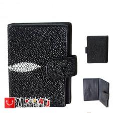 подарък Калъф за документи от кожа на Скат, естествена кожа, унисекс, черен, 11х8см TCF-100070bw