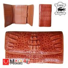 подарък Портфейл от истинска Крокодилска кожа, дамски, голям, кафяв, 19х11см TCF-na200211sbr
