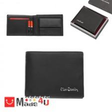 подарък Мъжки портфейл естествена кожа 11x9см, хоризонтален, черен мат, Pierre Cardin DM-PCL02001