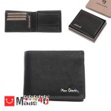 подарък Мъжки портфейл естествена кожа 11x10см, хоризонтален, черен, двоен шев, Pierre Cardin PCL02036 DM-PCL02036