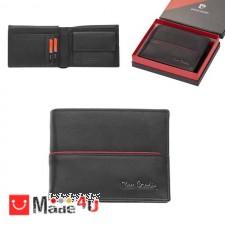 подарък Мъжки портфейл естествена кожа 12x10см, хоризонтален, черен с червена линия, Pierre Cardin PCL02045 DM-PCL02045