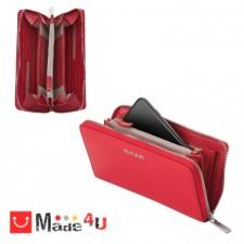 подарък Дамски Портфейл естествена кожа с цип, 11х19см, наситено червено, кожени портмонета Rossi DM-RSL04127