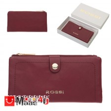 подарък Дамски Портфейл естествена кожа, отделение за телефон, 10х19см, бордо, кожени портмонета Rossi DM-RSL18126