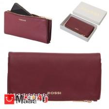 подарък Портмоне естествена кожа, многофункционално, дълго, 10х19см, бордо, кожени портмонета Rossi DM-RSL26126