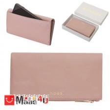 подарък Портмоне естествена кожа, многофункционално, дълго, 10х19см, перлено розово, кожени портмонета Rossi DM-RSL26136