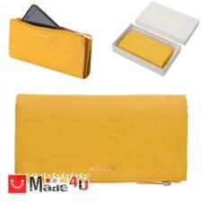 подарък Портмоне естествена кожа, многофункционално, дълго, 10х19см, жълто, кожени портмонета Rossi DM-RSL26141