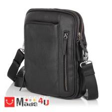 подарък Елегантна Мъжка Чанта от естествена телешка кожа за през рамо, 25/21см, черна, SILVER FLAME SFT8587M DM-SFT8587M