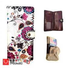 подарък Дамско портмоне с арт декорация, естествена кожа, флорален мотив, Lesszno 450050 SING 450050