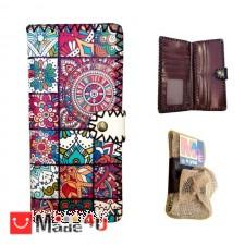 подарък Дамско портмоне от естествена кожа, дълго портмоне с арт декорация, пъстро, Lesszno 450060 SING 450060