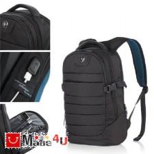 подарък Бизнес Раница за лаптоп с USB кабел, подходяща и за спорт и туризъм, 17л, черна - SWISSDIGITAL DM-SD-154B