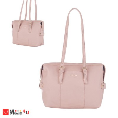 Дамска чанта естествена кожа 21х29см, перлено розово