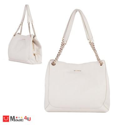 Дамска чанта естествена кожа, 32х27см, слонова кост