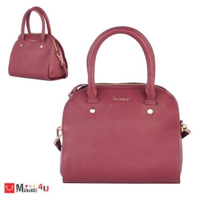 Дамска чанта естествена кожа 21х25см, винено червено