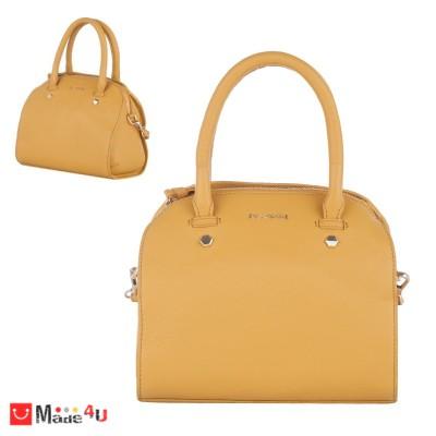 Дамска чанта естествена кожа 21х25см, светла горчица