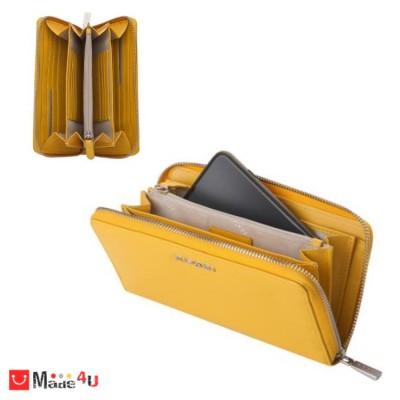 Дамски Портфейл естествена кожа с цип, 11х19см, жълто