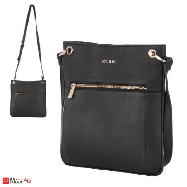 Дамска чанта тип торба, дамски чанти естествена кожа Rossi, черна