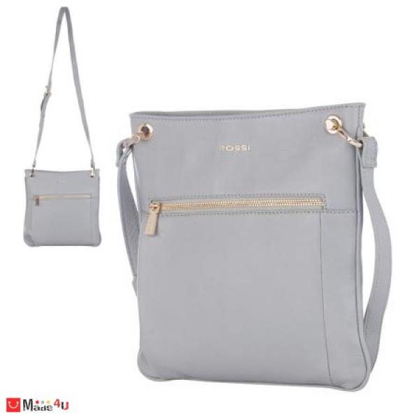 Дамска чанта тип торба 26х27см, сива, дамски чанти естествена кожа Rossi