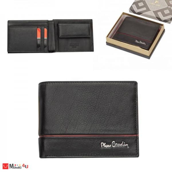 Мъжки портфейл естествена кожа 12x10см, хоризонтален, черен с червена черта, Pierre Cardin