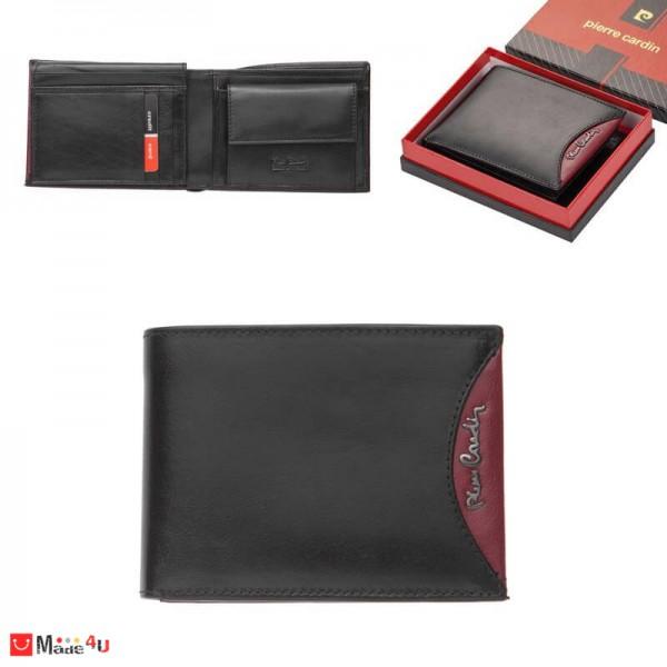 Мъжки портфейл естествена кожа 13x10см, хоризонтален, черно и червено, Pierre Cardin PCL02044