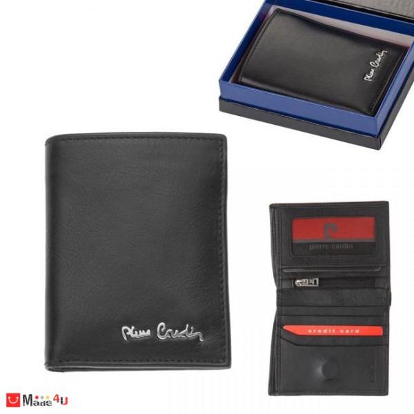 Портфейл от естествена кожа, вертикален, унисекс, черен, PIERRE CARDIN PCL05100