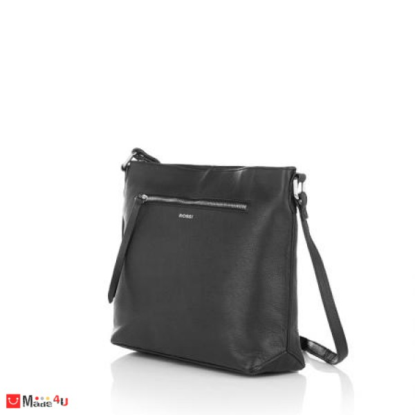 Дамска чанта през рамо, цвят черно, естествена кожа, RОSSI