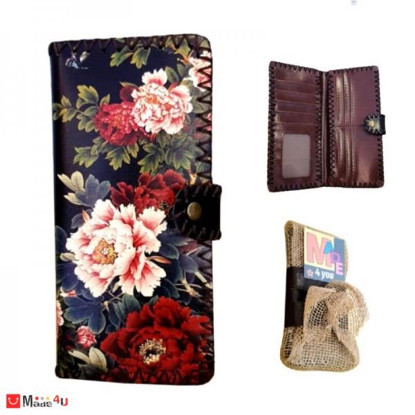Дамско портмоне от естествена кожа, арт декорация, черно с флорален мотив, Lesszno 450010