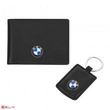 Подаръчен Сет BMW, Ключодържател и Калъф за документи, тип визитник, естествена кожа, Auto Set AS002
