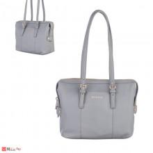 Дамска чанта естествена кожа, дамски чанти през рамо Rossi Италия, сива