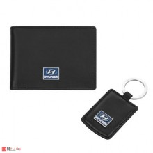 Сет Ключодържател и Калъф за документи и карти, тип визитник, естествена кожа, марка Hyundai