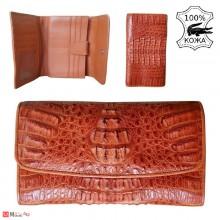 Портфейл от истинска Крокодилска кожа, дамски, голям, кафяв, 19х11см